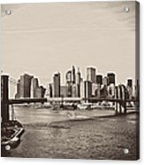 The New York City Skyline And The Brooklyn Bridge Acrylic Print by Vivienne Gucwa