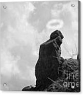 The Praying Monk With Halo - Camelback Mountain Bw Acrylic Print by James BO  Insogna