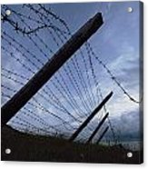 The Remains Of A Barbed Wire Fence That Acrylic Print by Steve Raymer