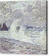 The Sea During Equinox Boulogne-sur-mer Acrylic Print by Theo van Rysselberghe