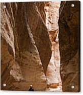 The Slot Canyons Leading Into Petra Acrylic Print by Taylor S. Kennedy