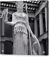 The Statue Of Athena Bw Acrylic Print by Linda Phelps