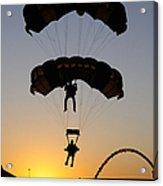 The U.s. Army Golden Knights Perform An Acrylic Print by Stocktrek Images