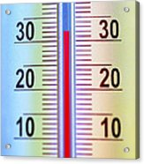 Thermometer Measuring 32 Celsius Acrylic Print by Jaak Nilson