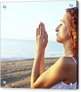 Thoughtful Woman Meditating Acrylic Print by Cristina Pedrazzini