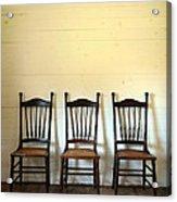 Three Antique Chairs Acrylic Print by Jill Battaglia