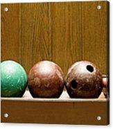 Three Bowling Balls Acrylic Print by Benne Ochs
