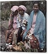 Three Women Traders Sit Acrylic Print by W. Robert Moore