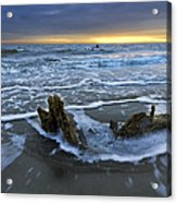 Tides At Driftwood Beach Acrylic Print by Debra and Dave Vanderlaan