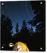 Time Exposure Of A Campers Tent Acrylic Print by Rich Reid