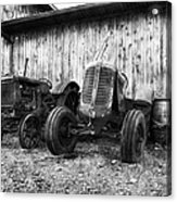 Tired Tractors Bw Acrylic Print by Peter Chilelli