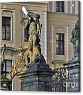 Titans Battling Outside Prague Castle Acrylic Print by Christine Till
