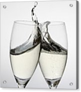 Toasting With Two Glasses Of Champagne Acrylic Print by Dual Dual