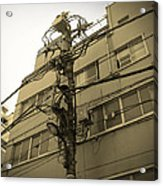 Tokyo Electric Pole Acrylic Print by Naxart Studio