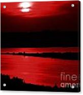 Topsail Island Blood-red Sunset Acrylic Print by Julie Dant