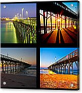 Topsail Piers At Sunrise Acrylic Print by Betsy Knapp