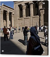 Tourists Wander Through The Temple Acrylic Print by Taylor S. Kennedy