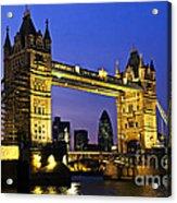 Tower Bridge In London At Night Acrylic Print by Elena Elisseeva