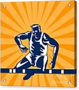 Track And Field Athlete Jumping Hurdles Acrylic Print by Aloysius Patrimonio