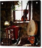 Traditional Musical Instruments, In Old Acrylic Print by The Irish Image Collection