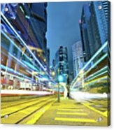 Traffic Trails In City Acrylic Print by Leung Cho Pan