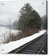 Train Tracks In Snowy Landscape Acrylic Print by Roberto Westbrook