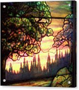 Trees Stained Glass Window Acrylic Print by Thomas Woolworth