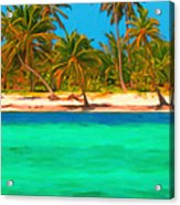 Tropical Island 5 - Painterly Acrylic Print by Wingsdomain Art and Photography