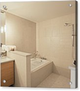 Tub And Shower In Bathroom Acrylic Print by Andersen Ross