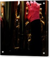 Tuba With Pink Acrylic Print by Steven  Digman