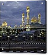 Twilight View Of An Illuminated Mosque Acrylic Print by Paul Chesley