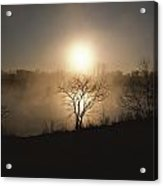 Twilight View Of Fog Over The Tennessee Acrylic Print by Sam Abell