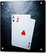 Two Aces Playing Cards On Stainless Steel. Acrylic Print by Ballyscanlon