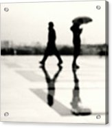 Two Men In Rain With Their Reflections Acrylic Print by Nadia Draoui
