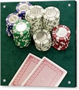 Two Playing Cards And Piles Of Gambling Chips On A Table, Las Vegas, Nevada Acrylic Print by Christian Thomas