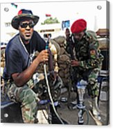 Two Rebel Fighters Man A Checkpoint Acrylic Print by Andrew Chittock