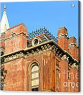 Uc Berkeley . South Hall . Oldest Building At Uc Berkeley . Built 1873 . The Campanile In The Backgr Acrylic Print by Wingsdomain Art and Photography