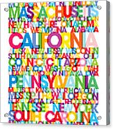 United States Usa Text Bus Blind Acrylic Print by Michael Tompsett