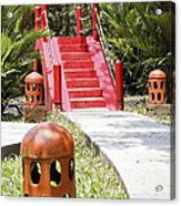 Up Garden Path Over Red Bridge Acrylic Print by Kantilal Patel