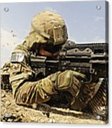 U.s. Air Force Soldier Fires The Mk48 Acrylic Print by Stocktrek Images