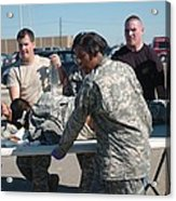 Us Army First Responders Use A Table Acrylic Print by Everett