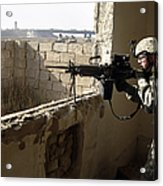 U.s. Army Soldier Searching Acrylic Print by Stocktrek Images