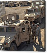U.s. Army Soldier Speaks With Iraqi Acrylic Print by Stocktrek Images
