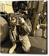 U.s. Army Soldiers Providing Overwatch Acrylic Print by Stocktrek Images