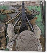 U.s. Marine Fires An M2 .50-caliber Acrylic Print by Stocktrek Images