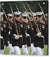 U.s. Marines March By During The Pass Acrylic Print by Stocktrek Images
