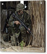 U.s. Marines Prepare To Enter A House Acrylic Print by Stocktrek Images