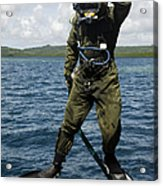 U.s. Navy Diver Jumps Off A Dive Acrylic Print by Stocktrek Images