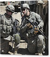 U.s. Soldiers Coordinate Security Acrylic Print by Stocktrek Images