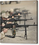 U.s. Soldiers Firing Pk 7.62 Mm Acrylic Print by Terry Moore
